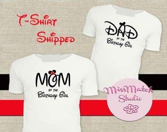 Disney Birthday Mom Dad T-Shirt Shipped!! Minnie Mickey Mouse Mom Birthday Girl Shirt DIY Iron On Digital Art Matching Pink Gold
