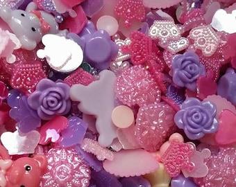 Pink Cabochons, Pink Flatbacks, Pink Flowers, Resin Cabochons, Lilac Cabochons,Lilac Flowers, Purple Flatbacks, Cabochon Mix, Craft Packs,