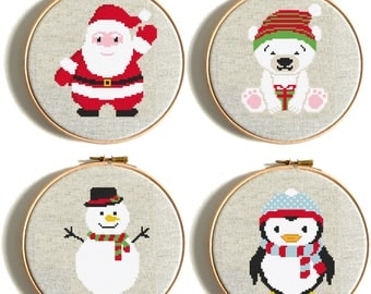 Merry Christmas cross stitch Pattern Santa Claus counted cross stitch Snowman cross stitch Modern embroidery Bear Penguin cross stitch Funny