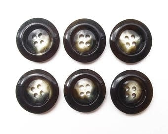 6 buttons round marbled black beige acrylic 22 mm