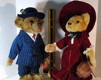 Pair of Pickford Brass Button Bears Baxter from the 1900s series and Gabrielle from the 1910s series ~ home decor ~ collectible ~ gifts