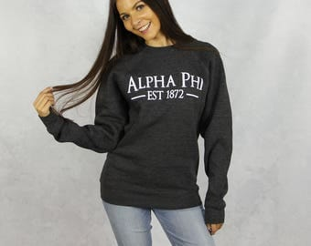 Alpha Phi Crewneck Sweatshirt in Charcoal Gray