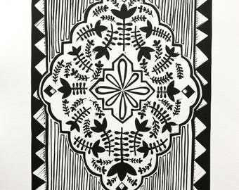 Oriental Rug - Original Lino Artwork, Lino Print, Handmade, Limited Edition,Persian Carpet, Relief Print