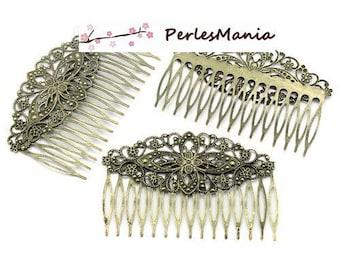 PAX: 10 large hair comb barrette S1123892 bronze FILIGREE lace