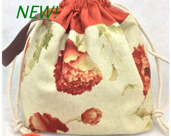 Drawstring Project Bag, Knitting Bag, Knitting tote, Flower Knitting  Bag, Canvas Knitting Bag, Crochet Project Bag