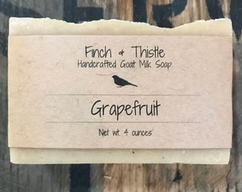 Grapefruit Goats Milk, Natural Soap, Palm Free Soap, Handmade Soap, Cold Process Soap