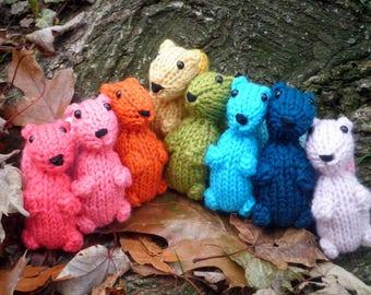 Hand Knit Squirrel - Plush Wool Yarn Woodland Squirrels - Forest Animal Holiday Housewarming Birthday Kids Stuffed Knitting Waldorf Toy Gift