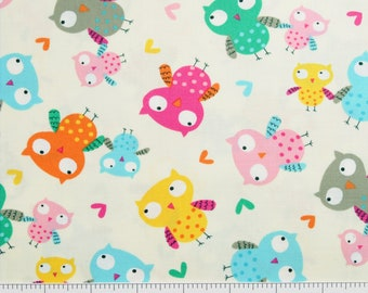 Timeless Treasures~ KIDZ-C4087 CRM~ Tossed OWLS on Cream Background ~  By The Half Yard ~