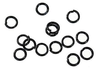 Set of 500 open black metal 4 mm