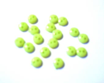 Set of 80 small Apple green buttons 6 mm 2 hole, scrapbooking