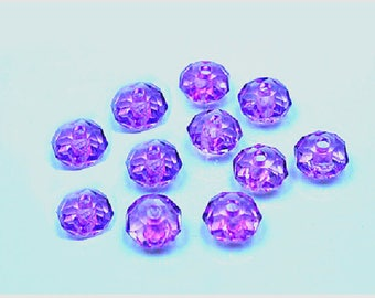 Set of 20 purple acrylic faceted 8 mm beads