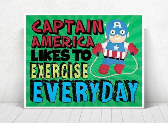Superhero Captain America Wall Art / Captain America Kids ART / Captain America Likes To Exercise Everyday / Captain America