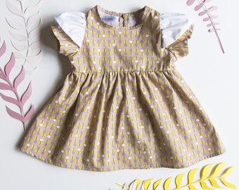 Baby dress * Dandelion * organic cotton printed flowers old pink, ruffled sleeves.
