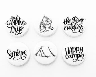 Set of 6 Flair badges {Alex Hunter Designs Camping B&W}
