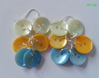 Earrings blue green mother of Pearl buttons