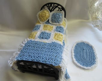 Miniature Crochet -Country Blue/Yellow/White Bed Spread-Pillows Rug Set Dollhouse Bedding ( 6 Piece Set)