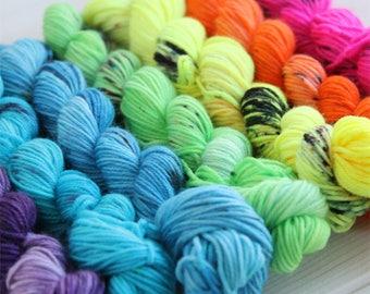 Indie dyed yarn - hand dyed sock yarn set - neon yarn - speckled yarn - gradient yarn - rainbow yarn - geeky yarn - hand painted yarn