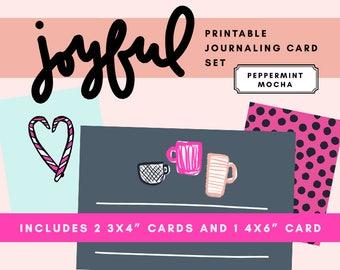 Joyful Printable Journaling Card Set - Peppermint Mocha