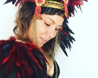Red and black studded feather festival epaulettes, Burning Man feather wings, feather shoulder pieces, Burner style clothing, festival wear