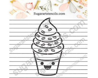 Summer ice cream cone PYO cookie Stencil NB900726