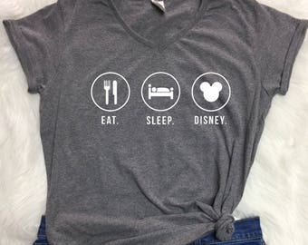 Eat Sleep Disney Ladies v-neck, Eat sleep disney t shirt, disney inspired t shirt, day at disney