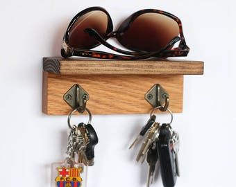 Oak & Pine Key Holder Sunglasses Wallet Shelf, solid wood wall mounted key holder, key organizer hanger storage, key hooks, wood metal hooks