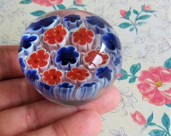1960s Murino Millefiori Art Glass Paperweight- Red Blue and White Colourway - Domed with controlled bubbles