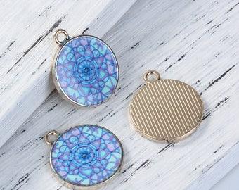 "5 pendants ""Mandala"" Golden enameled 2.2 cm"
