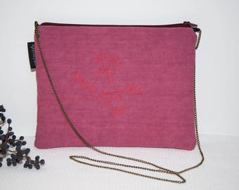 Small pink bag hand embroidered, evening bag, tote bag pink raspberry, bag, with bronze chain, lightweight bag, bag for a party bag pink