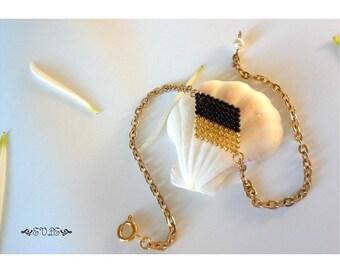 Seed Bead Bracelet, Miyuki Delica Bead Bracelet, Gold Bracelet, Woven Bead Bracelet, Geometric Bracelet, Gift for her