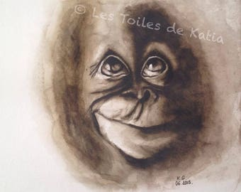 Funny monkey. Sepia watercolor on paper 30 x 30 June 2015