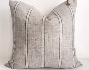 Grey with cream and black stripe pillow cover 20x20