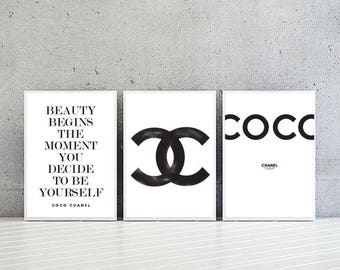 Coco Chanel Logo Quote Print Posters