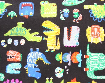 Dino Fabric, Japanese Canvas Fabric, Buzoku, Dinosaurs, Pteranodon, Diplodocus, Trex, Dinosaur, Kids Bag, Library Bag, Kids Apron, Project