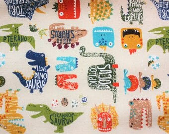 Dinosaur Fabric, Japanese Canvas Fabric, Cotton Duck Fabric, Buzoku, Dinosaurs, Ivory, Kids Fabric, Cushion Cover, Kids Material, Half Metre