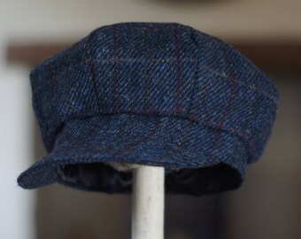Blue Windowpane Harris Tweed Baker Boy Cap