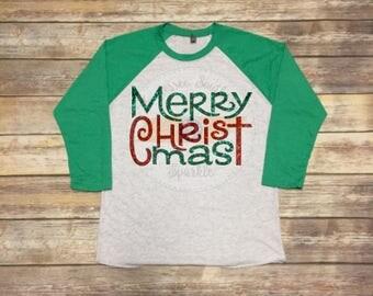 Merry Christmas Shirt | Christmas Shirt | Merry Christmas Raglan | Christmas Raglan | Holiday Shirt | Holiday Raglan
