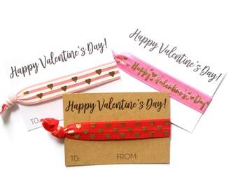 Happy Valentine's Day Hair Tie | Happy Valentine's Day Elastic Hair Tie | Valentine's Day | Hearts | Love | Pink | Red | Gold | Gold Hearts