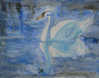 Swan in Blue Watercolour Painting