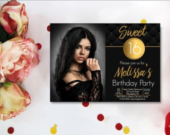 Sweet 16 Invitations Black And White, Sweet 16 Invitations Printable, Black & Gold 13th 16th 20th 21st with photo or not Digital
