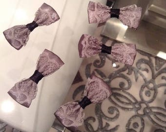 3 bow satin and lace flower applique