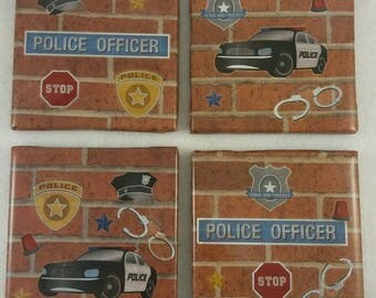 Police Officer Coasters,  Gift for Sergeant,  Man cave coasters,  Gift for Dad, Coasters
