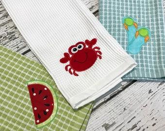 Summer Kitchen Towel // Custom Kitchen Towel // Crab // Anchor // Watermelon // Ice Cream