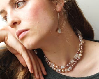 Freshwater pearls with faceted moonstones gift for you / Pearl Necklace in different natural colours such as pink, grey, beige