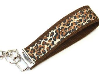 ANIMAL PRINT Fabric key chain, Cheetah print key fob, Animal print wristlet, Brown wristlet, Brown key fob