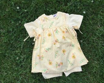 Vintage 80's girls yellow bodysuit dress