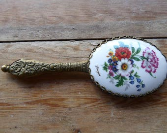 Limoges Porcelain Backed Hand Mirror, Vintage French Looking Glass, Beauty Accessory