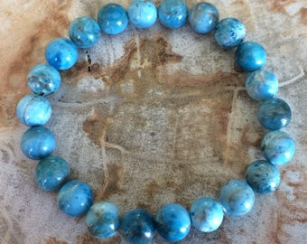 Blue Apatite Crystal Stretch Bracelet! Premium Beads Chakra Healing Bracelet Natural Healing Jewelry Meditation Metaphysical Reiki Yoga Blue