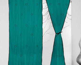 Heart Hand Block Printed Living Room Door Solid Cotton Turquoise Curtains 2  Pcs Panel Set Part 45