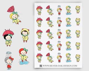 Ruby Rainy Day Stickers - weather reminder, umbrella stickers, Erin Condren Life Planner, Happy Planner, weather stickers (GRL-009)